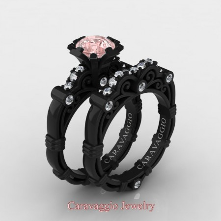 Caravaggio-14K-Black-Gold-125-Carat-Pink-Morganite-Diamond-Engagement-Ring-Wedding-Band-Set-R623S-14KBGDPMO-P