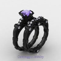 Caravaggio 14K Black Gold 1.25 Ct Tanzanite Diamond Engagement Ring Wedding Band Set R623S-14KBGDTA