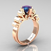 Caravaggio 14K Rose Gold 1.25 Ct Alexandrite Diamond Engagement Ring R639-14KRGDAL