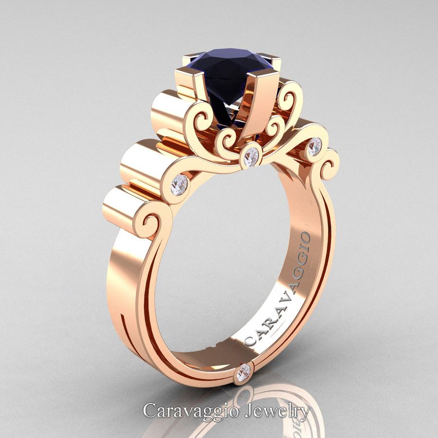 320d0197d15 Caravaggio 14K Rose Gold 1.25 Ct Black and White Diamond Engagement ...