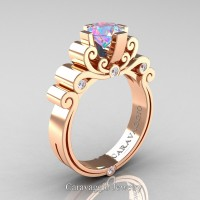 Caravaggio 14K Rose Gold 1.25 Ct Iridescent Cubic Zirconia Diamond Engagement Ring R639-14KRGDICZ