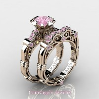 Caravaggio 14K Rose Gold 1.0 Ct Light Pink Sapphire Engagement Ring Wedding Band Set R623S-14KRGLPS