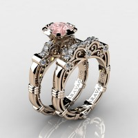 Caravaggio 14K Rose Gold 1.0 Ct Pink Morganite Diamond Engagement Ring Wedding Band Set R623S-14KRGDPM