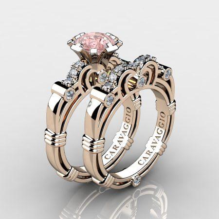 Caravaggio-14K-Rose-Gold-125-Carat-Pink-Morganite-Diamond-Engagement-Ring-Wedding-Band-Set-R623S-14KRGDPMO-P