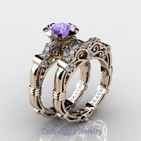 Caravaggio 14K Rose Gold 1.25 Ct Tanzanite Diamond Engagement Ring Wedding Band Set R623S-14KRGDTA