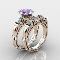Caravaggio 14K Rose Gold 1.25 Ct Tanzanite Diamond Engagement Ring Wedding Band Set R623S-14KRGDTA