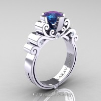 Caravaggio 14K White Gold 1.25 Ct Alexandrite Diamond Engagement Ring R639-14KWGDAL