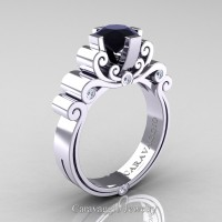 Caravaggio 14K White Gold 1.25 Ct Black and White Diamond Engagement Ring R639-14KWGDBD