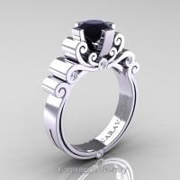 Caravaggio 14K White Gold 1.25 Ct Black and White Diamond Engagement Ring R639-14KWGDBD