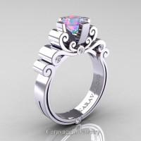 Caravaggio 14K White Gold 1.25 Ct Iridescent Cubic Zirconia Diamond Engagement Ring R639-14KWGDICZ