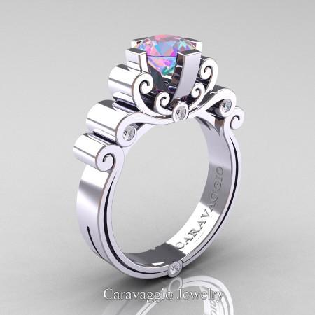 Caravaggio-14K-White-Gold-1-25-Carat-Iridicent-Cubic-Zirconia-Diamond-Engagement-R639-14KWGDIRCZ-P