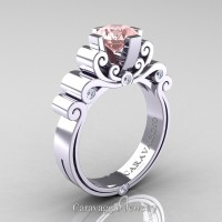 Caravaggio 14K White Gold 1.25 Ct Pink Morganite Diamond Engagement Ring R639-14KWGDPM