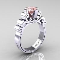 Caravaggio 14K White Gold 1.25 Ct Pink Morganite Diamond Engagement Ring R639-14KWGDPM