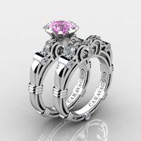 Caravaggio 14K White Gold 1.0 Ct Light Pink Sapphire Diamond Engagement Ring Wedding Band Set R623S-14KWGDLPS