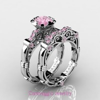 Caravaggio 14K White Gold 1.0 Ct Light Pink Sapphire Engagement Ring Wedding Band Set R623S-14KWGLPS
