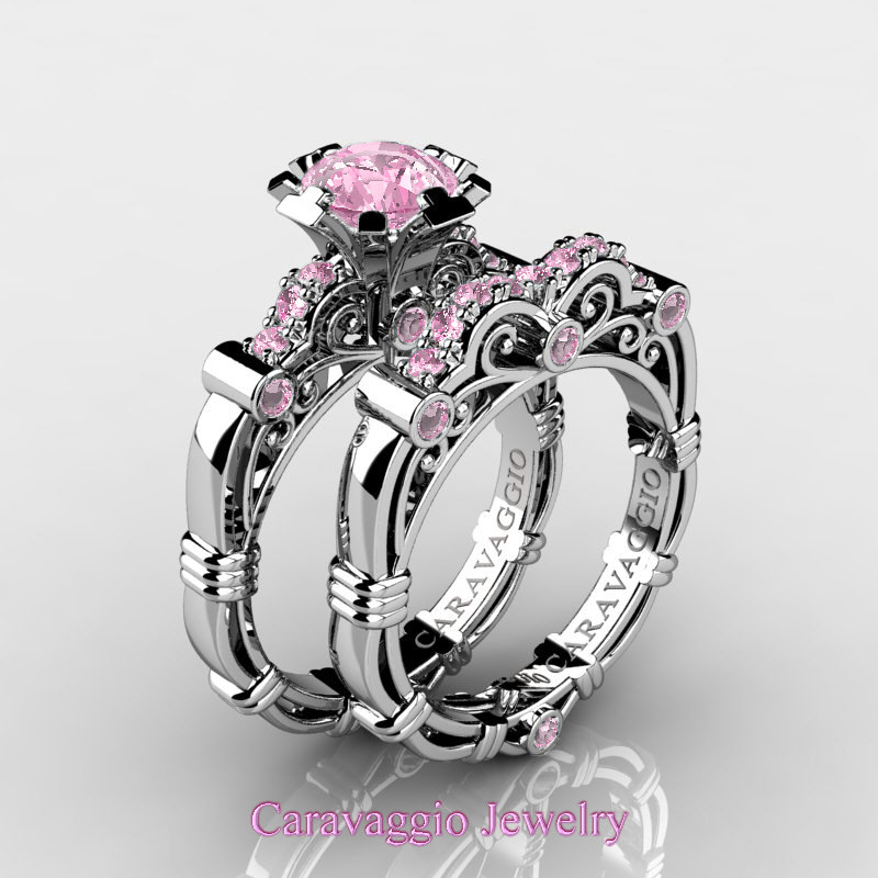 Caravaggio 14k White Gold 1 0 Ct Light Pink Shire Enement Ring