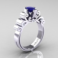 Caravaggio 14K White Gold 1.0 Ct Oval Blue Sapphire Diamond Engagement Ring R639O-14KWGDBS