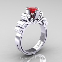 Caravaggio 14K White Gold 1.0 Ct Oval Ruby Diamond Engagement Ring R639O-14KWGDR