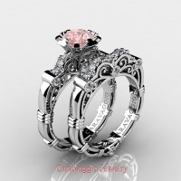 Caravaggio 14K White Gold 1.0 Ct Pink Morganite Diamond Engagement Ring Wedding Band Set R623S-14KWGDPM