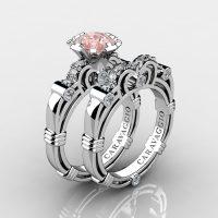 Caravaggio 14K White Gold 1.0 Ct Pink Morganite Diamond Engagement Ring Wedding Band Set R623S-14KWGDPM