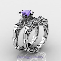 Caravaggio 14K White Gold 1.25 Ct Tanzanite Diamond Engagement Ring Wedding Band Set R623S-14KWGDTA