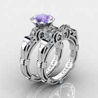 Caravaggio 14K White Gold 1.25 Ct Tanzanite Diamond Engagement Ring Wedding Band Set R623S-14KWGDTA