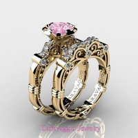 Caravaggio 14K Yellow Gold 1.0 Ct Light Pink Sapphire Diamond Engagement Ring Wedding Band Set R623S-14KYGDLPS