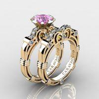 Caravaggio 14K Yellow Gold 1.0 Ct Light Pink Sapphire Diamond Engagement Ring Wedding Band Set R623S-14KYGDLPS