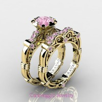 Caravaggio 14K Yellow Gold 1.0 Ct Light Pink Sapphire Engagement Ring Wedding Band Set R623S-14KYGDLPS