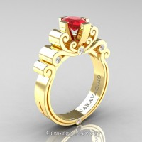 Caravaggio 14K Yellow Gold 1.0 Ct Oval Ruby Diamond Engagement Ring R639O-14KYGDR