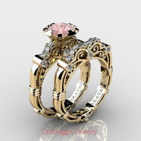 Caravaggio 14K Yellow Gold 1.0 Ct Pink Morganite Diamond Engagement Ring Wedding Band Set R623S-14KYGDPM