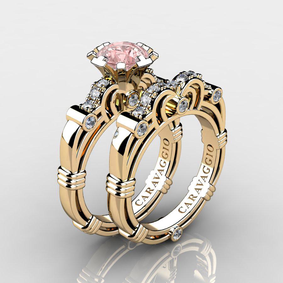 14K Gold Wedding Ring Sets   Caravaggio 14k Yellow Gold 1 25 Ct Pink Morganite Diamond Engagement