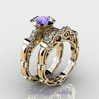 Caravaggio 14K Yellow Gold 1.25 Ct Tanzanite Diamond Engagement Ring Wedding Band Set R623S-14KYGDTA