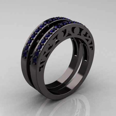 Modern-Vintage-Black-Gold-Blue-Sapphire-Double-Wedding-Band-R102B2-BGPS-P