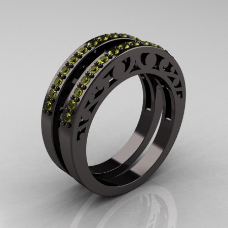 Modern-Vintage-Black-Gold-Yellow-Sapphire-Double-Wedding-Band-R102B2-BGYS-P