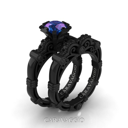 Art-Masters-Caravaggio-14K-Black-Gold-1-Carat-Chrysoberyl-Alexandrite-Black-Diamond-Engagement-Ring-Wedding-Band-Set-R623S-14KBGBDAL-P