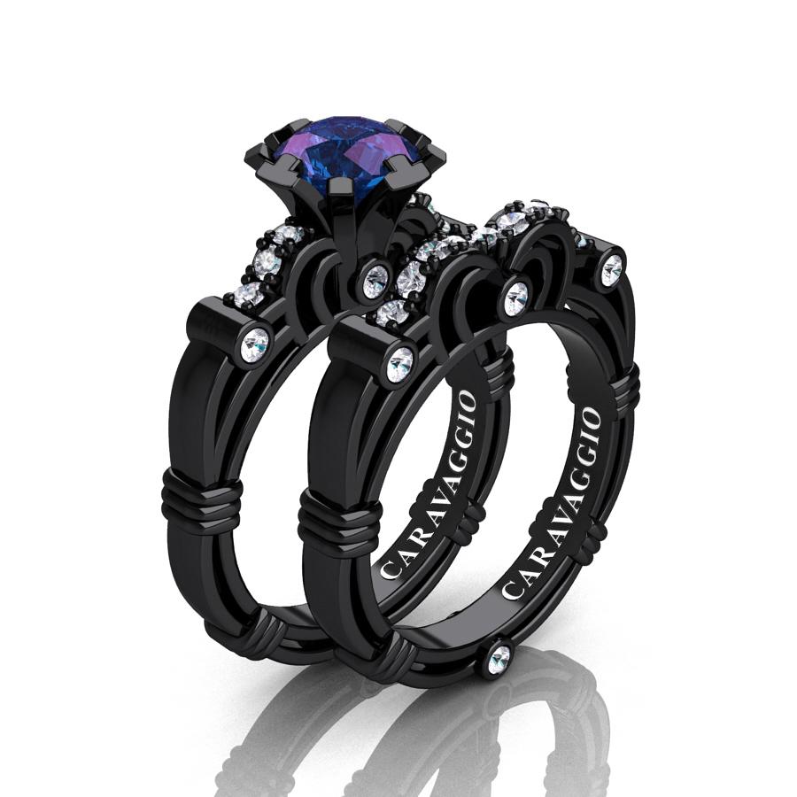 art masters caravaggio 14k black gold 1 carat - Alexandrite Wedding Ring