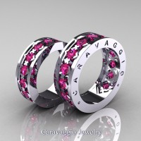 Caravaggio Modern 14K White Gold Princess Pink Sapphire Wedding Band Set R313S-14KWGPS