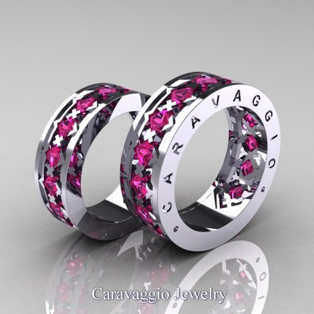 Caravaggio-Modern-14K-White-Gold-Princess-Pink-Sapphire-Formal-Wedding-Band-Set-R313S-14KWGPS-P