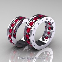 Caravaggio Modern 14K White Gold Princess Rose Ruby Wedding Band Set R313S-14KWGRR