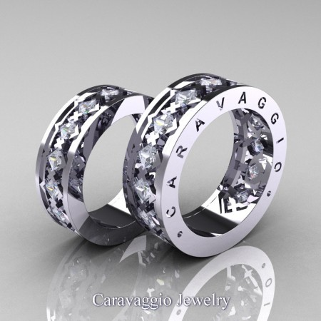 Caravaggio-Modern-14K-White-Gold-Princess-White-Sapphire-Wedding-Band-Set-R313S-14KWGWS-P