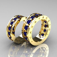 Caravaggio Modern 14K Yellow Gold Princess Blue Sapphire Wedding Band Set R313S-14KYGBS