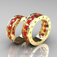 Caravaggio Modern 14K Yellow Gold Princess Ruby Wedding Band Set R313S-14KYGR