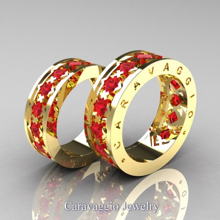 Caravaggio-Modern-14K-Yellow-Gold-Princess-Rubies-Formal-Wedding-Band-Set-R313S-14KYGR-P