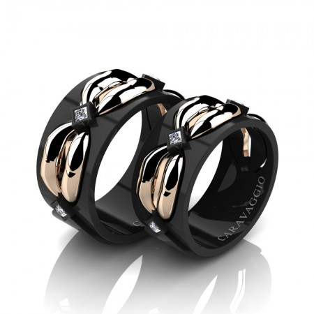 Caravaggio-Romance-14K-Black-and-Rose-Gold-Princess-Diamond-Wedding-Ring-Set-R683S-14KBRGD2-P