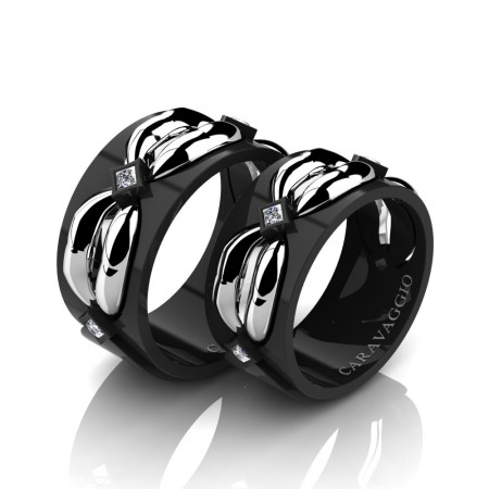 Caravaggio-Romance-14K-Black-and-White-Gold-Princess-Diamond-Wedding-Ring-Set-R683S-14KBWGD2-P