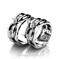 Caravaggio Romance 14K White Gold Princess Diamond Wedding Ring Set R683S-14KWGD