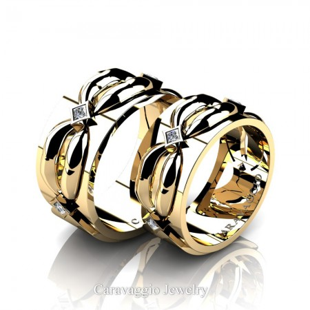 Caravaggio-Romance-14K-Yellow-Gold-Princess-Diamond-Wedding-Ring-Set-R683S-14KYGD2-P
