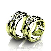 Caravaggio Romance 18K Green Gold Princess Diamond Wedding Ring Set R683S-18KGGD