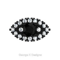 French 14K Black Gold 1.0 Ct Black and White Diamond Marquise Eye Wedding Ring R409-14KBGDBD